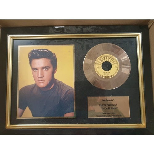 12 - Elvis Sun records ltd ed Love me tender gold disc...