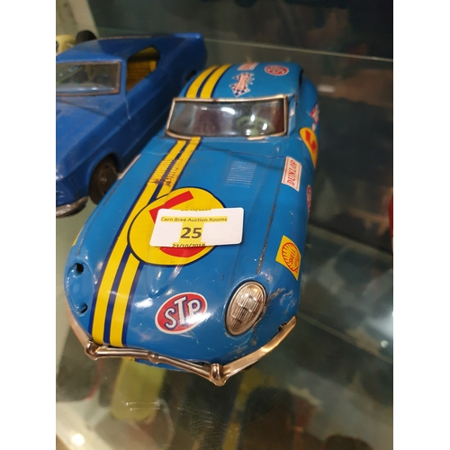 25 - Japanese Tin Plate 1960s Blue E type jag 12