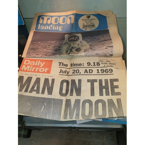 31 - 1969 original news papers of the moon landings...