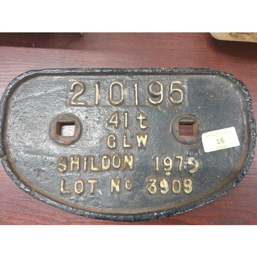 16 - railwayana Railway Wagon Plate...