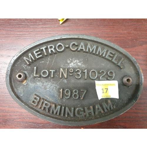 17 - Railwayana Metro Cammell Loco Plate...