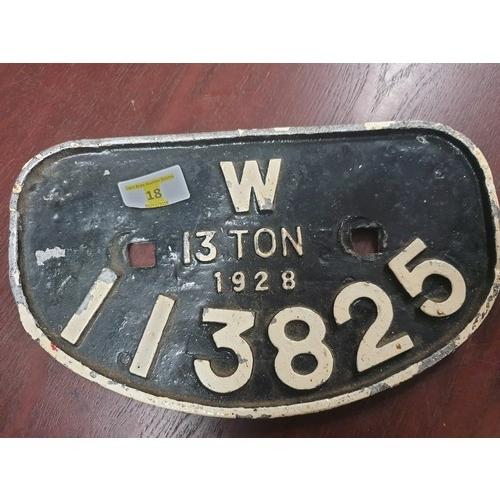 18 - Railwayana Replica Wagon Plate...