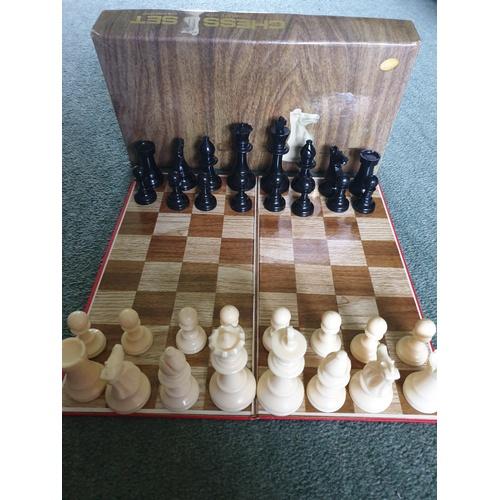 1 - 1970's Hong Kong boxed chess set with board...