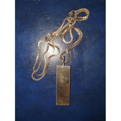 234 - Fine Large Vintage 1977 Sterling Silver Jubilee Ingot Pendant Necklace 23g...