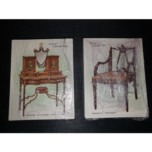 18 - TWO COMPLETE SETS CIGARETTE CARDS WILL'S OLD FURNITURE 1ST & 2ND SERIES 1923 / 1924...