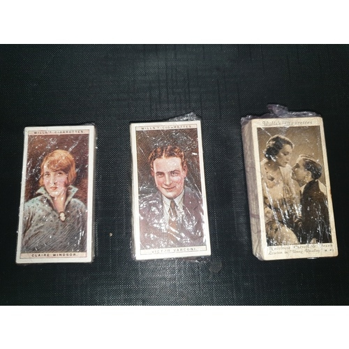 19A - FILM STARS - W. D. & H. O. WILLS - SCARCE THREE SETS SERIES 1 & 2 (1928) 25 CARDS SERIES 3 50 CINEMA...