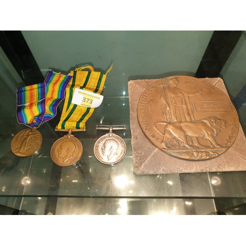 373 - WW1 Medal Group Ward Camborne, The British War Medal 1914-18, The Allied Victory Medal and The Terri...