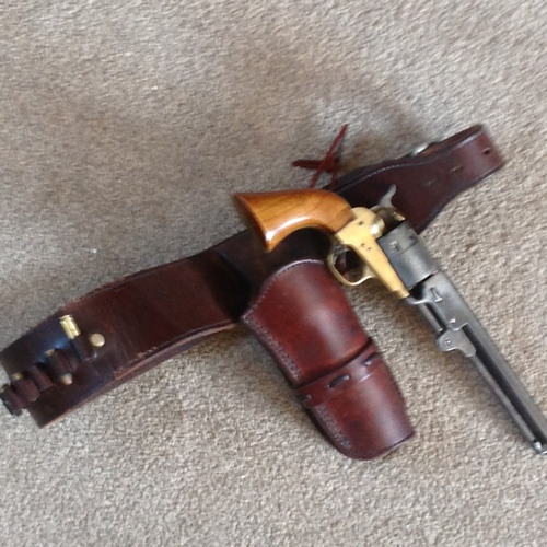 277 - Real quality repro 1860 navy colt  ball and cap pistol  by Henry Krank - plus excellent leather hols...