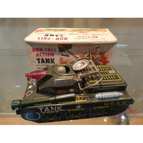 27 - Tinplate Cragstan No-Fall Action Tank Battery Operated Tin Vintage Toy Japan T*...
