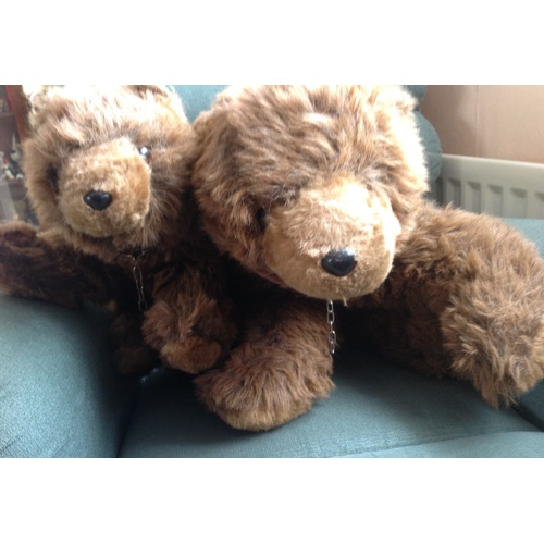 41 - LARGE PEDIGREE MUMMY BEAR AND BABY Made by Pedigree Israel on labels Age not known been told 60s 70s...