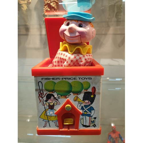 612 - VINTAGE 1970s FISHER PRICE JACK-IN-THE-BOX CLOWN POP-UP PUPPET TOY...