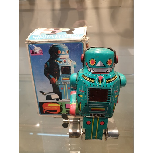 18 - Tinplate Clockwork Mighty Robot w/ Sparks  tin Mechanical wind-up toy with Box...