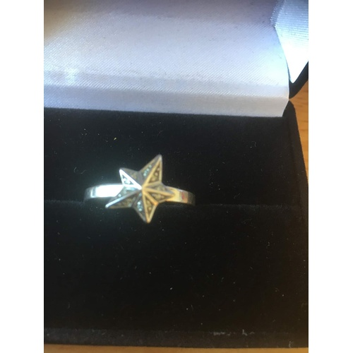 128 - ring starfish silver 925 size 17 5.1 gr...