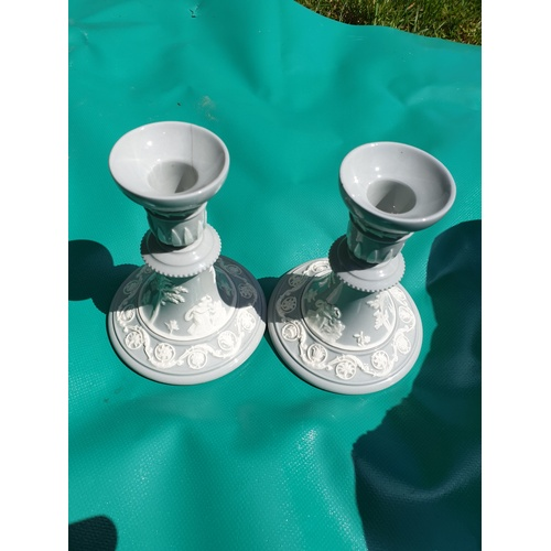 312 - Wedgwood – Pair of Sage Green Jasperware Candlesticks - Candle Holders fire crack top of one...