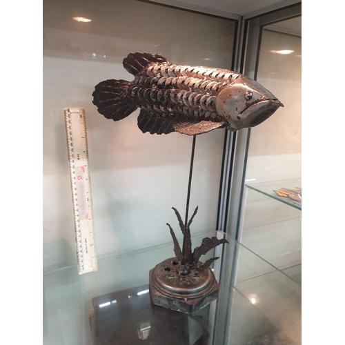 255 - Artwork large scrap metal fish...