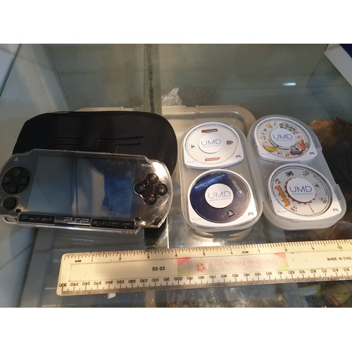 73 - PSP-1000 Sony PlayStation Portable Black (Japanese) W/ 7 Games...