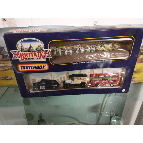 364 - MATCHBOX BRITAIN IN MINIATURE LIMITED EDITION SET,CORONATION COACH,TAXI,BUS,VAN...