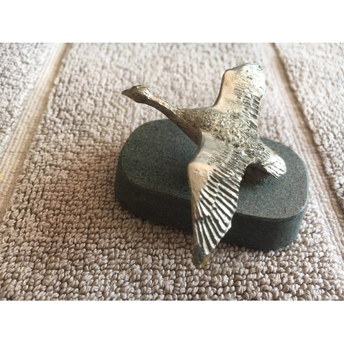 280 - Hunting series duck metal on stone...