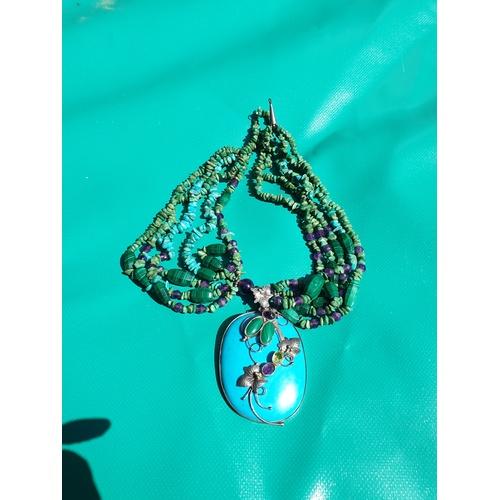 27 - Polished stone necklace Malachite, Amethyst and Turquoise...