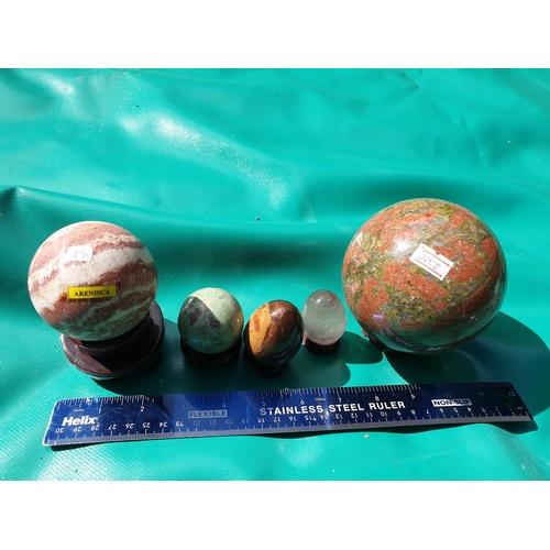 4 - Natural Fluorite Ball Quartz Crystal Spheres...