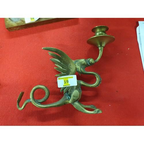 19 - Brass Dragon candlestick...