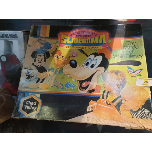 26 - VINTAGE CHAD VALLEY 1972 SLIDERAMA WORLD OF WALT DISNEY TOY PROJECTOR AND SLIDES...