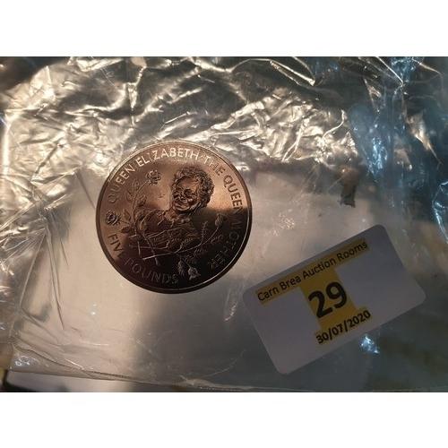 29 - Queen Mother £5 coin...