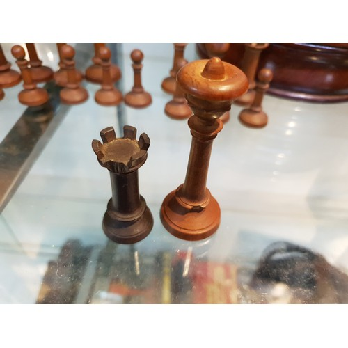 456A - Carved chess set light damage to couple pieces...