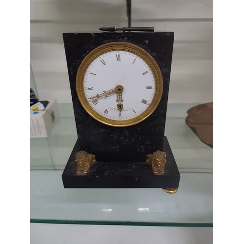 1 - Weeks marble patternated bronze clock missing one foot and top figure but has key . Similar to one o...