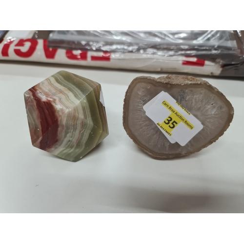 35 - Oynx & polished stone...