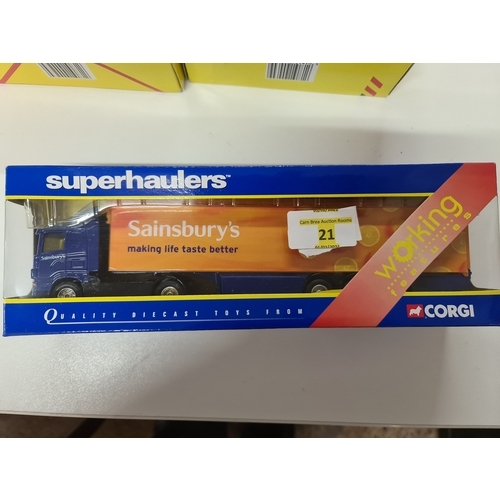 21 - CORGI SUPERHAULERS TY86616 SAINSBURYS SCANIA ARTIC AND TRI AXLE TRAILER....