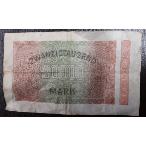 11A - Rare 1923 German 20000 marks note Circulated but good condition...