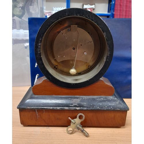 11B - French VAP BREVIT drum clock c1950s+KEY Unusual glass -In need of attention - nice looking. Clock...