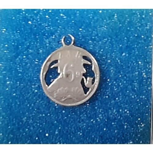 8B - Silver 1896 ZAR South African 6 Rand coin Cut into lucky fob medallion...