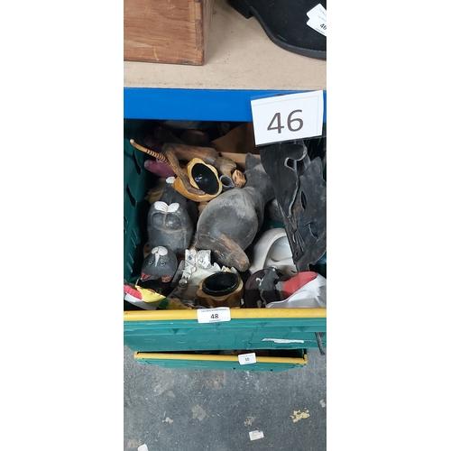 48 - Tray of china cats etc