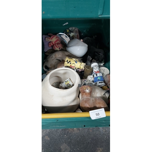 50 - Crate of china cats etc