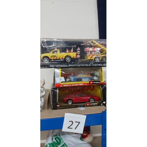 27 - 2 Boxed Burago Cars & 1 Other