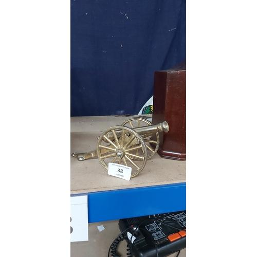 38 - brass cannon on wheels