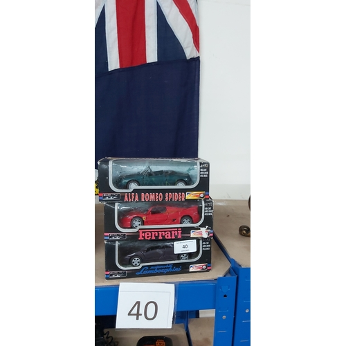 40 - 3 Boxed Sports Cars...
