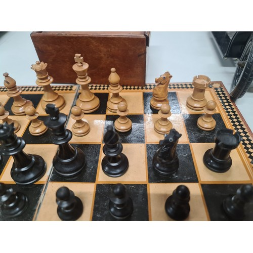 2 - Old carved wood chess set & board