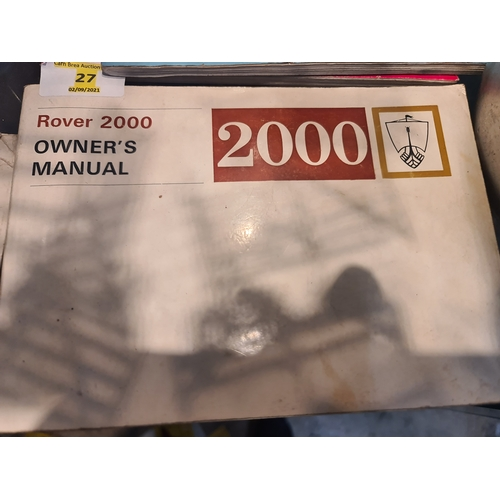 27 - Rover 2000 P6 Owners Manual - 1972 - Part No 607833