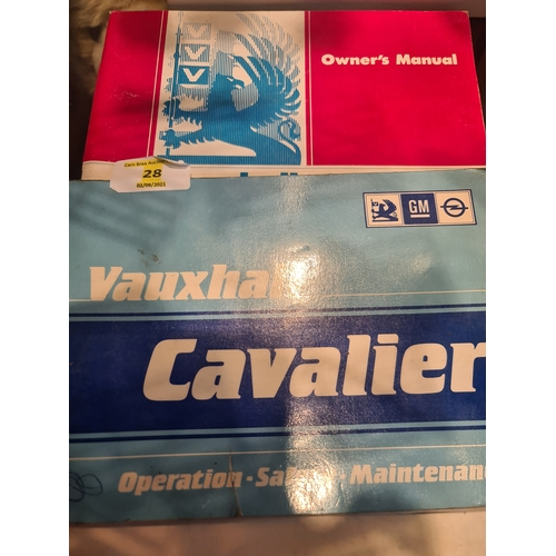 28 - 2 x Vauxhall Cavalier owners manuals 1982 & 1986