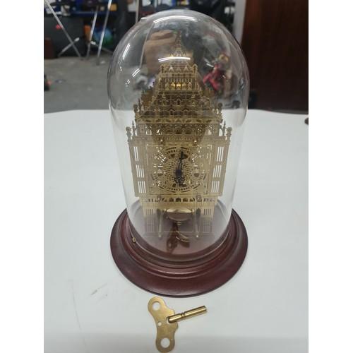 41A - Vintage German Hermle Big Ben Skeleton Mantel Clock, glass dome & Key Works.