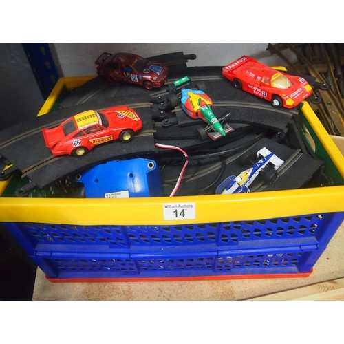 14 - Box of Scalextric track with various racing cars...