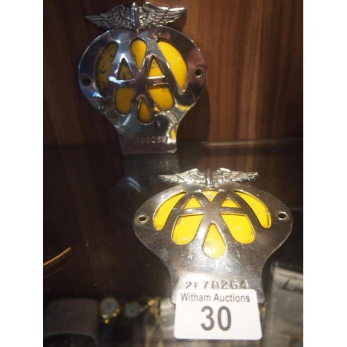 30 - Two vintage AA car badges...