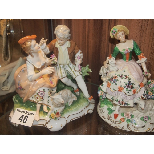 46 - Two Dresden figurines one of a courting couple with sheep and a shepherdess...