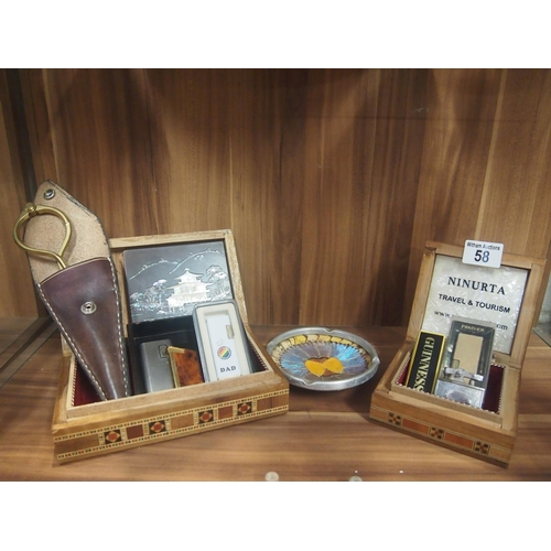 58 - Two inlaid boxes with lighters and a butterfly wing ashtray etc...
