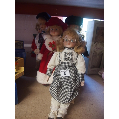 8 - Six collectable china faced dolls...