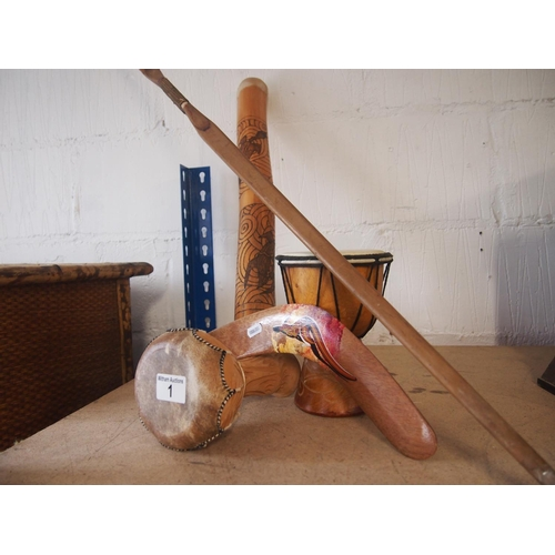 1 - Two miniature bongos, Australian art bamboo boomerang, wooden string less bow...