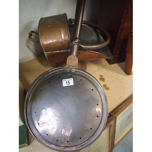 15 - Copper and brass warming pan and coal scuttle...